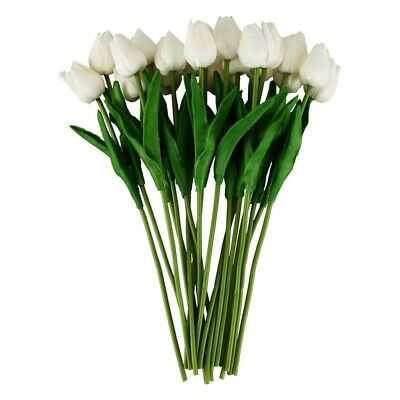 20pcs Tulip Flower Latex For Wedding Decor Flower KC451- white ED