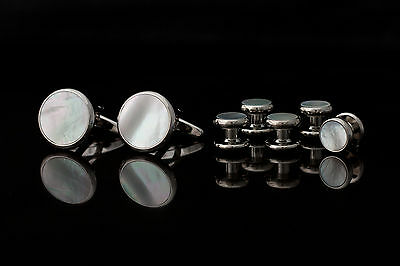 Shirt Studs and Cufflinks Set - silver colour metal and mother of pearl