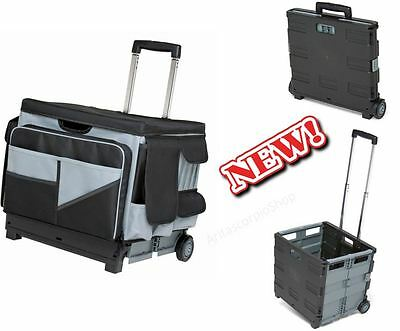 Folding Rolling Cart Organizer Saddle Bag Tote Mobile Tool Storage Travel  Office