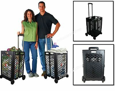 Foldable Shopping Trolley Rolling Cart Wagons Wheel Portable Pack-N-Roll 55 lbs