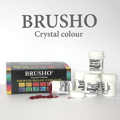 Brusho Crystal Paint Colours Assorted Pack of 12 15g pots