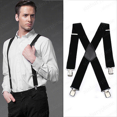 50mm Gentle Mens Men Braces Plain Black Wide & Heavy Duty Suspenders Adjustable
