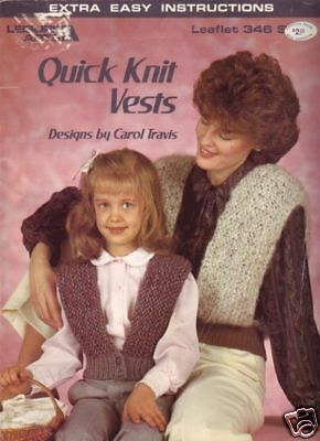 Leisure Arts Quick Knit Vests mother & daughter knitting patterns - 1985
