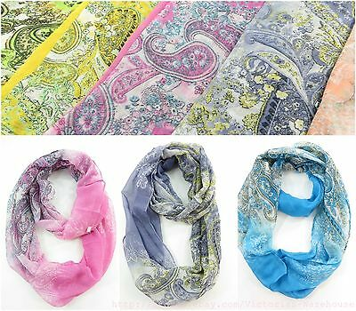 lof of 6 Classic paisley wholesale infinity scarf eternity loop scarves wraps