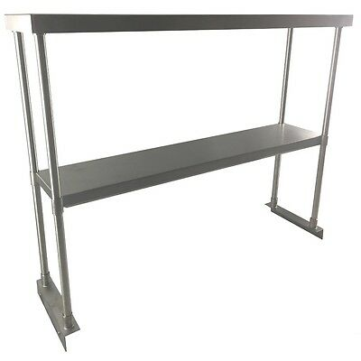 Commercial Kitchen Stainless Steel Double Overshelf for Work Tables 18X48