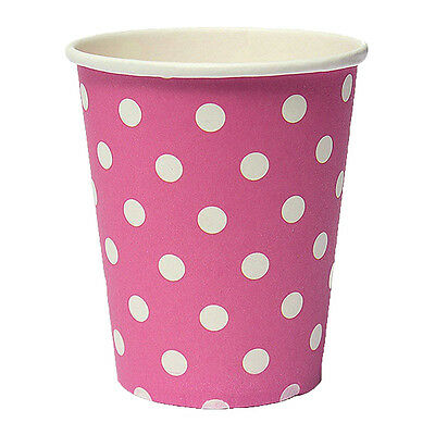 50pcs Polka Dot Paper Paper Cups Disposable Tableware Pink ED