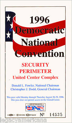 1996 Bill Clinton Chicago Democratic National Convention Security Pass (1253)