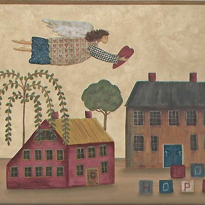 Country Folk Art Angels & Colonial Houses - ONLY $8 - Wallpaper Border A132