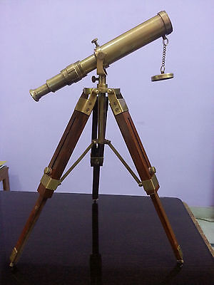 A003 Vintage Solid Brass  Marine Nautical Navy Telescope with Tripod Port
