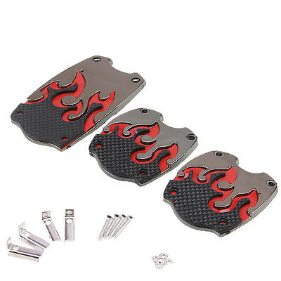 3pcs 1 Set Manual Car Non-slip Gas Brake Clutch Pedals Cover Pad Universal Red