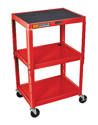 LUXOR AVJ42-RD Adjustable Height Steel Cart, 42-Inch H Table, Red New