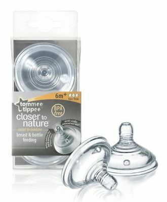 Tommee Tippee  Closer To Nature Easivent Teat Fast Flow 6M+ Pack Of 2  Bpa Free