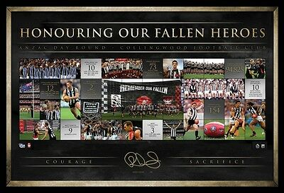 Afl 20 Years Of Anzac Rivalry Collingwood Scott Pendlebury Signed Print Framed