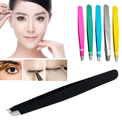 Hi Stainless Steel Tweezers Hair Eyebrow Plucker Puller Beauty Nail Slanted Tip