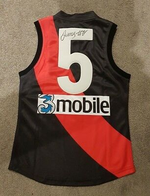 James Hird Hand Signed Essendon Bombers Football Jumper - Premiership Captain