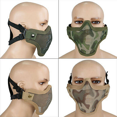 Airsoft Tactical Mesh Lower Half Face Protective Mask Military Paintball -Desert