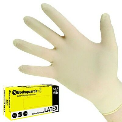 Box of 100 Bodyguards 4 Latex lightly powdered gloves size L or XL