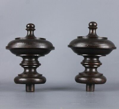 Pair of Antique French Wood Finials 19 th