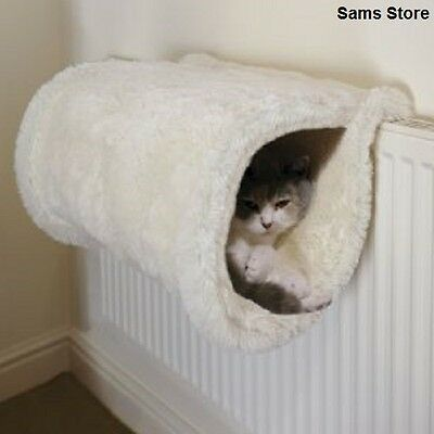 Radiator Mounted Cat Tunnel Floor Bed Plush Luxury Kitten Nap Perch Comfy Den