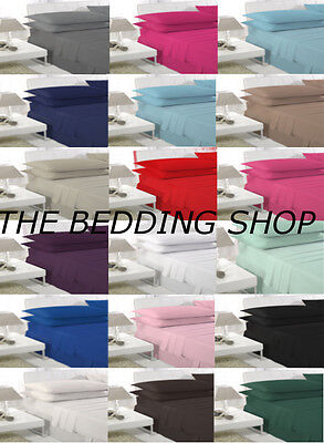 EJ Home Single Double King Fitted Valance Bed Sheets & Pillow case 18 COLOURS !!