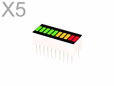 5 pcs Red Yellow Green 3-Color LED 10-SEGMENT Bargraph Array Display Bar Graph
