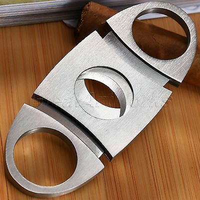 Silver Stainless Steel Double Blades Cigar Cutter Scissors Shears Knife Trimmer