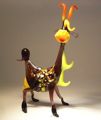 Blown Glass Art Figurine Farm Animal Comic Funny Happy GOAT Statuette