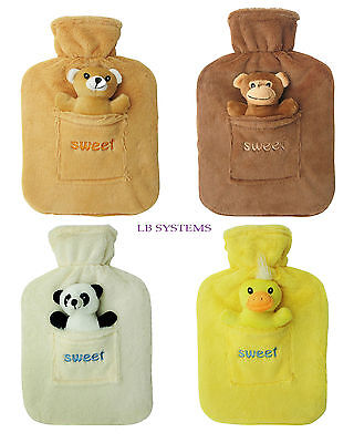 New 2L Large Rubber Hot Water Bottle With Warm Fleece Fur Animal Cover 2 Litre