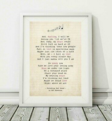 005 Ed Sheeran - Thinking Out Loud - Song Lyric Poster Print - Sizes A4 A3