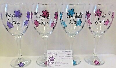 Flower Wine Glass PERSONALISED Hand Painted Teacher Gift Birthday Any Name