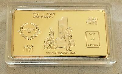 REMEMBRANCE DAY INGOT~ Gold Plated collectable - C.O.A.incl