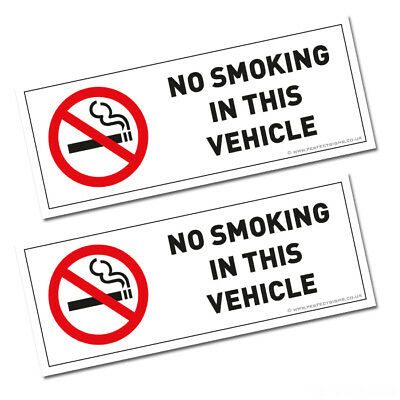 2 X No Smoking In This Vehicle Stickers Signs Vans  Coach Hgv Fleet (Stkpn00076)