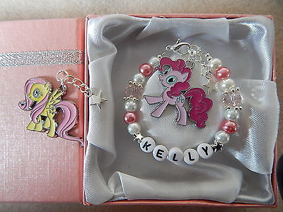 My Little Pony Personalised Bracelet Childs Pinkie Pie Fluttershy Gift Box Bag
