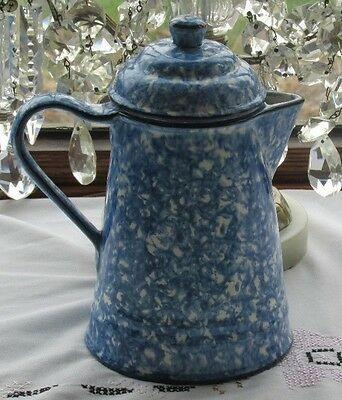 """Stangl Pottery Town & Country Blue Spongeware Coffee Pot 7 1/8""""D X 8 1/4""""H Exc"""