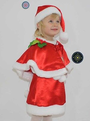 Baby Girl Little Santa Dress Hat Christmas Red Fancy Outfit Costume 6 M - 5 Y