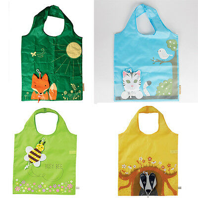 Reusable Foldable Shopping Bag Animal Tote Handbag Fold Away Ladies Clip Shopper