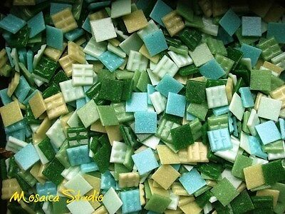 1Kg Mosaic Vitreous Tiles - 20x20mm Jungle Green Mix