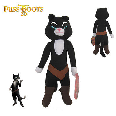 RARE Shrek Puss in Boots Kitty Soft Paws Black Cat Stuffed Plush Toy 14 inch New