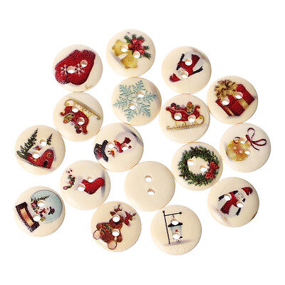 40H 30 PRETTY STRIPED PAINTED WOOD BUTTONS 15mm Sewing~Embellishment~Knitting