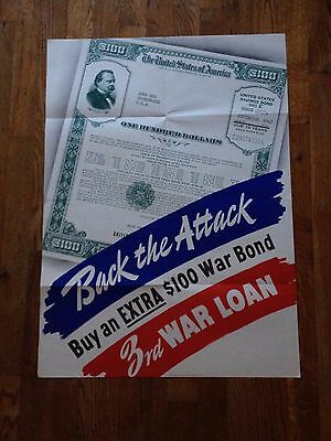 Back The Attack (Original WWII Poster) 3rd World Loan