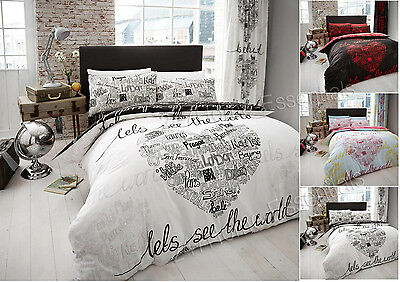 Duvet Cover With PillowCases Quilt Cover Bedding Set World Single Double King