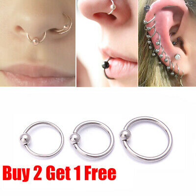 Surgical Steel Silver Ball Closure Lip Ring Ear Nose Ring Eyebrow Hoop Ring