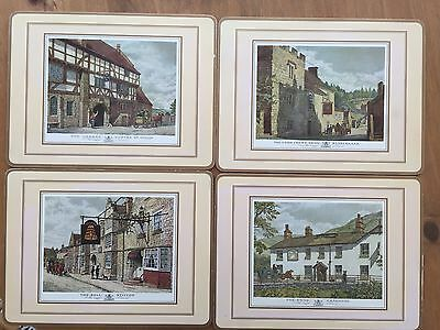 Vintage Cork OLD ENGLISH INNS Place Mats with Scenes of Pubs England ARTWORK
