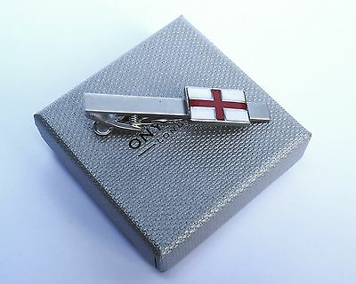 ST GEORGES FLAG ENGLAND TIE BAR-Satin Silver 55mm METAL TIE BAR in GIFT BOX-NEW