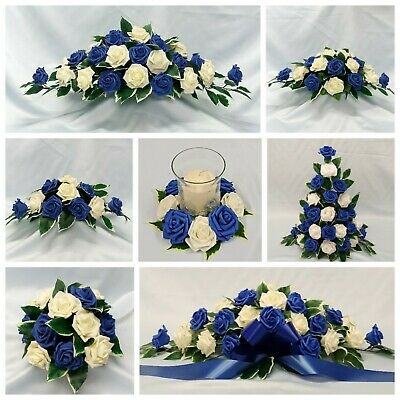 Wedding Flowers Top Table Arrangement Candle Ring Package Royal Blue Foam Roses