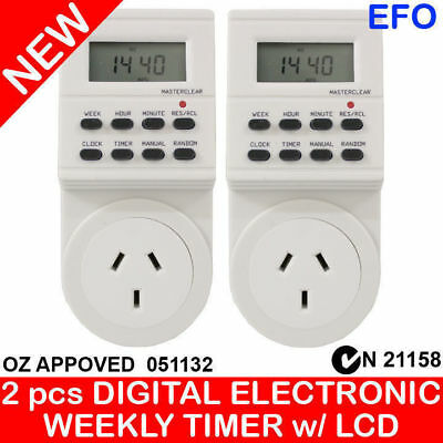 2 pcs PROGRAMMABLE ELECTRONIC DIGITAL TIMER LCD DISPLAY x2 C TICK AU APPROVED