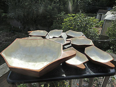 Vintage Polynesien Fruitwood Bowls with Abalone Shell  - Snack or Salad
