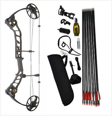 New 15-70Lb Compound Bow & Arrow Hunting Target Archery Us Limbs Ready To Hunt