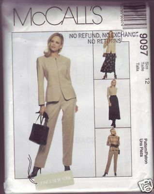 McCall's #9097 Misses jacket pants skirt sewing size 12 copyright 1997