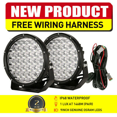 Pair 9inch 99999W LED CREE ROUND Driving Spot Work Lights Offroad SUV Spotlights